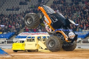 Monster Truck Smashing Van and Car