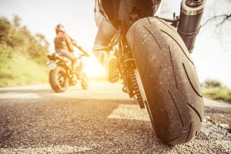 Motorcycle Tire on Road
