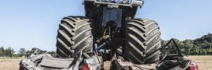 Monster Trucks Demolishing 2 Cars