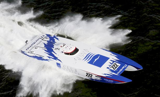 A boat racing on water